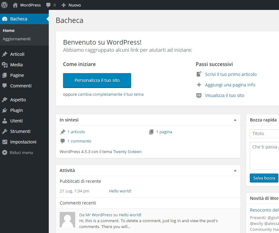pannello controllo wordpress
