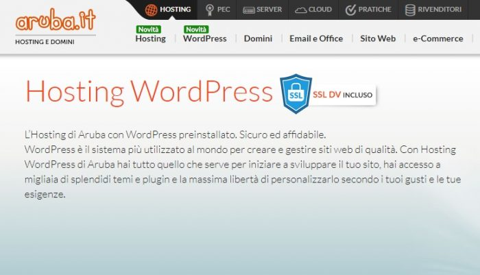 sito WordPress Aruba